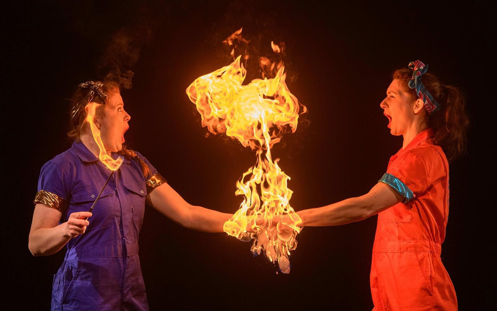 Circus performers with fire